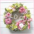 【送料無料】オールドローズとシルバーデージーのプリザーブドリース〜ずっときれいに咲き続けるプリザーブドフラワーリース〜