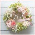 【送料無料】数種類のバラのスプリングリース〜長く飾れるプリザーブドフラワーリース