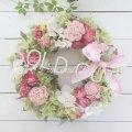 プリザーブドローズのピンクのリース〜長く飾れるプリザーブドフラワーリース