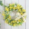 春のミモザのリース/L〜長く飾れるアーティフィシャルリース