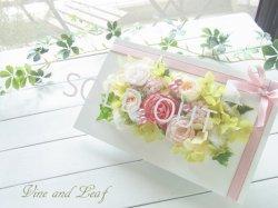 画像1: プリザーブドフラワーの白いウッドフレーム(L)〜結婚祝い、新築祝いのギフトに