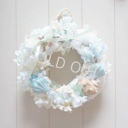 画像2: 【SALE‼】☆シェル(貝がら)のリース〔ブルー×ホワイト〕〜結婚祝い・新築祝いなどのプレゼントに〜