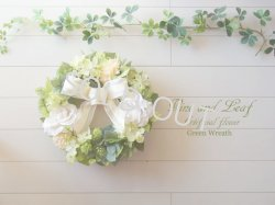 画像1: バラとアジサイのグリーンリース〜外にも飾れるアーティフィシャルフラワー