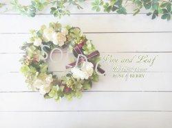 画像1: バラとアジサイと野イチゴのナチュラルリース〜外にも飾れるアーティフィシャルフラワー