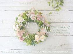 画像1: バラとマムのスプリングリース〜長く飾れるアーティフィシャルリース[W-18003]
