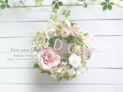 画像1: バラとアジサイのナチュラルカラーリース〜長く飾れるアーティフィシャルリース