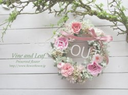 画像1: プリザーブドローズとライスフラワーのオーバルリース〜ずっと咲き続けるプリザーブドフラワー〜[