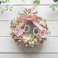 ピンクのバラと小花のミニリース〜長く飾れるプリザーブドフラワー〜