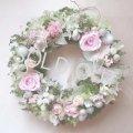 【魔法のお花プリザーブドフラワー】キラキラパールとベビーピンクのバラのリース 【送料無料】